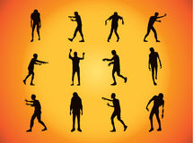 Vector zombie collection in silhouette style Royalty Free Stock Images
