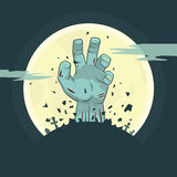 Vector zombie hand rising from the grave vector illustration