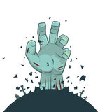 Vector zombie hand rising from the grave Stock Photography