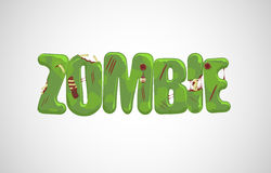 Vector zombie text. Over light gray background stock illustration
