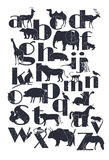 Vector zoo alphabet with cartoon animals. On white background. Rabbit, turtle, elephant, lion, zebra, deer. Children poster vector illustration