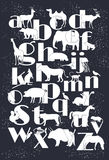 Vector zoo alphabet with cartoon animals. On white background. Rabbit, turtle, elephant, lion, zebra, deer. Children poster royalty free illustration