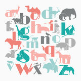 Vector zoo alphabet with cartoon animals. On white background. Rabbit, turtle, elephant, lion, zebra, deer. Children poster stock illustration