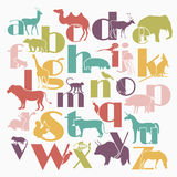 Vector zoo alphabet with cartoon animals on white. Background. Rabbit, turtle, elephant, lion, zebra, deer. Children poster stock illustration
