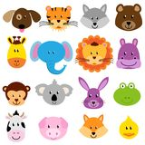 Vector Zoo Animal Faces Set Stock Photos