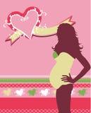 Vector zwangere vrouw in roze stock illustratie
