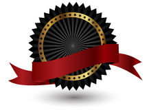 Vector zwart etiket met rood lint. Stock Fotografie