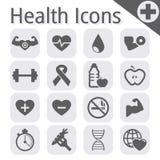 Vector zwart geschiktheid en gezondheidspictogram Stock Afbeelding