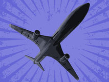 Vector zwart vliegtuig Royalty-vrije Stock Afbeelding