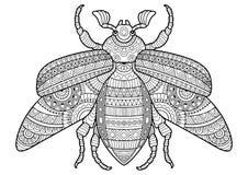 Vector zwart-wit beeld van een insect op witte achtergrond Hand getrokken contour-overzicht insect voor het kleuren pades voor vo vector illustratie