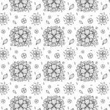 Vector zwart-wit bloem naadloos patroon Stock Fotografie