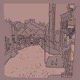 Vector zwart-wit de stads stedelijk landschap van de schetsstad van de oude straat St Andrew s in Kiev de Oekraïne Royalty-vrije Stock Foto's