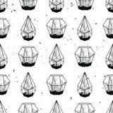 Vector zwart-wit hand getrokken naadloos patroon met cactussen Royalty-vrije Stock Fotografie