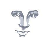 Vector zwart-wit kunsttekening, portret van schitterend dromerig meisje vector illustratie