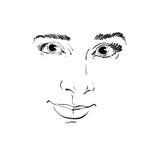 Vector zwart-wit kunsttekening, portret van schitterend dromerig meisje stock illustratie