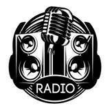 Vector zwart-wit malplaatje voor ontwerp op een muzikaal thema met spreker, microfoon, hoofdtelefoons en vinyl vector illustratie