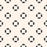 Vector zwart-wit minimalistisch naadloos patroon met eenvoudige bloemenvormen Royalty-vrije Stock Afbeeldingen
