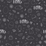 Vector zwart-wit naadloos Pasen-patroon stock illustratie
