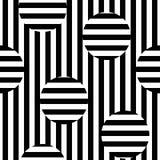 Vector zwart-wit naadloos patroon, gestreepte illusietextuur Royalty-vrije Stock Foto