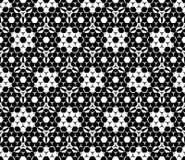 Vector zwart-wit naadloos patroon, hexagonale bloemenelementen Stock Afbeeldingen