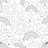 Vector zwart-wit naadloos patroon met regenboog stock illustratie
