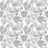 Vector zwart-wit naadloos patroon van harten met bloemen Het beste voor Valentines Dag, Huwelijk en Verjaardagsontwerp royalty-vrije illustratie