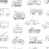 Vector zwart-wit naadloos patroon van retro motoren en vervoer stock illustratie
