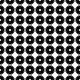 Vector zwart-wit naadloos patroon, vlakke bloementextuur Royalty-vrije Stock Afbeeldingen