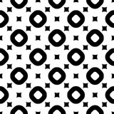 Vector zwart-wit naadloze patroon, ringen & ruiten Royalty-vrije Stock Afbeelding