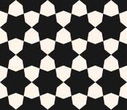 Vector zwart-wit naadloze textuur, geometrisch hexagonaal patroon Royalty-vrije Stock Afbeeldingen