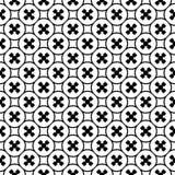 Vector zwart-wit naadloze textuur, kruisen en cirkels Stock Foto's
