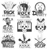 Vector zwart-wit reeks emblemen van het muziekthema Geïsoleerde kentekens, emblemen, banners of stickers met gitaren, microfoons Royalty-vrije Stock Afbeelding