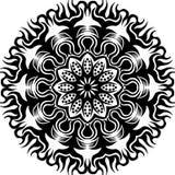 Vector Zwart-witte abstracte cirkel mandalapattern zonvlam en bloem stock illustratie