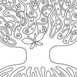Vector zwart-witte hand getrokken illustratie van psychedelische abstracte boom, bloemen, bladeren, punten, Decoratieve artistiek vector illustratie