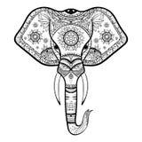 Vector Zwart-witte Henna Elephant Head Illustration Stock Fotografie