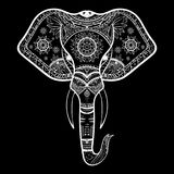 Vector Zwart-witte Henna Elephant Head Illustration Stock Foto
