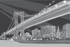 Vector zwart-witte illustratie van de Brug van Brooklyn in de Stad van New York Stock Foto