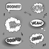 Vector zwart-witte reeks met grappige toespraakbellen met geluidseffecten Stock Afbeeldingen