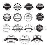 Vector Zwart-witte Retro Zegels en Kentekens Stock Afbeelding