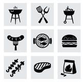 Vector zwarte barbecuepictogrammen die op grijs worden geplaatst Stock Afbeeldingen