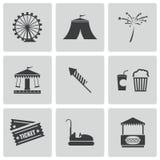 Vector zwarte Carnaval-geplaatste pictogrammen Stock Foto