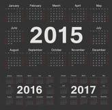 Vector zwarte cirkelkalenders 2015, 2016, 2017 vector illustratie