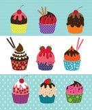 Vector Zwarte Cupcakes-Pictogrammen Royalty-vrije Stock Foto