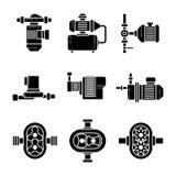 Vector zwarte de pictogrammenreeksen van de waterpomp royalty-vrije illustratie