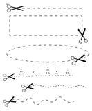 Vector zwarte die schaarpictogrammen op wit worden geplaatst Stock Fotografie