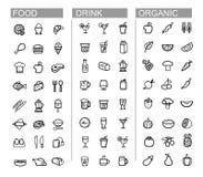 Vector zwarte drank, voedsel, geplaatste keukenpictogrammen Royalty-vrije Stock Fotografie