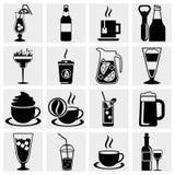 Vector zwarte dranken & geplaatste drankenpictogrammen Stock Foto's