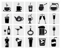 Vector zwarte dranken & geplaatste drankenpictogrammen Royalty-vrije Stock Foto