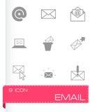 Vector zwarte e-mail geplaatste pictogrammen Stock Fotografie