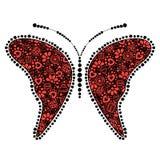 Vector zwarte en rode sier decoratieve illustratie van vlinder Royalty-vrije Stock Foto